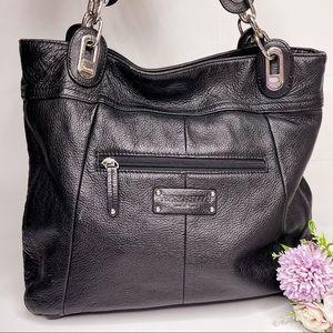 Tignanello Black Pebbled Leather Shoulder Bag